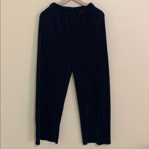 Silky dark blue wide leg pants